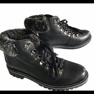 Studio C Fur Lined Leather Laceup Hiking Boots 6